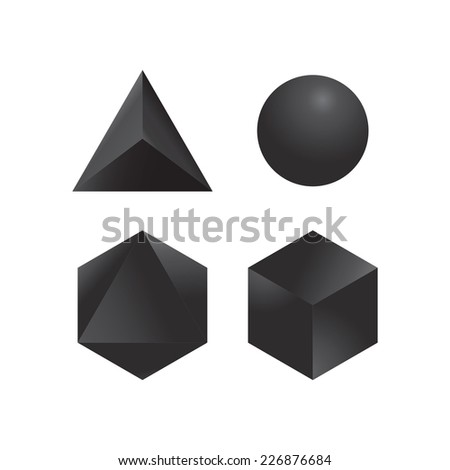 Set of four geometric shapes  - stock vector