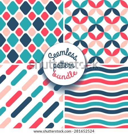Set of four geometrical seamless patterns. Red and navy tones. - stock vector