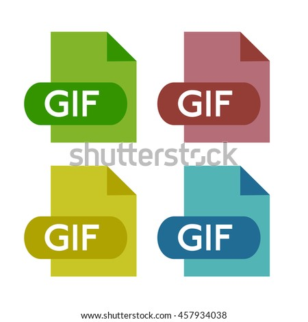 Set of four gif icons isolated on a white background