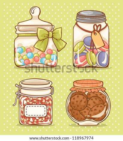 Set of four glass jars with candies and cookies. - stock vector