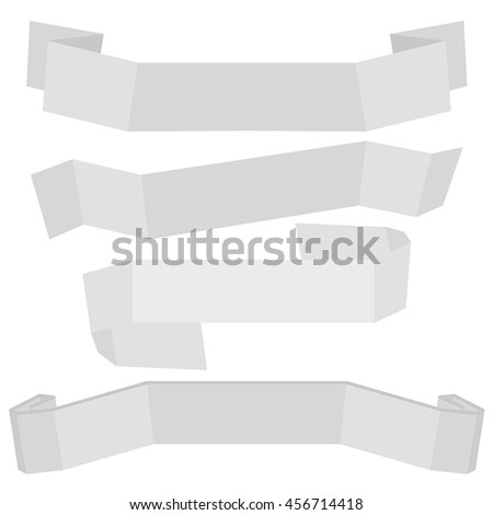 Set of four gray vector ribbon banners