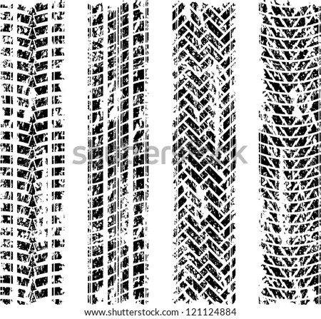 Set of four grunge black tire track silhouette - stock vector