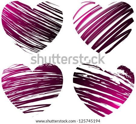Set of four grunge hearts in pink and black colors - stock vector