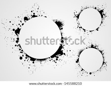 Set of four grunge round frame backgrounds - stock vector