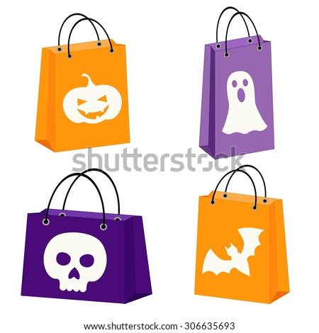 Halloween Bags quick and simple kids halloween bags craft Set Of Four Halloween Bags With Images Of A Bat Scull Jack O
