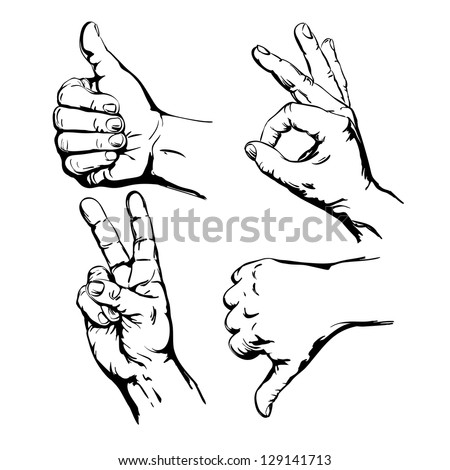 Set of Four Hands with Thumb Finger Up,  Victory and O.K. Symbol Hands. Vector Illustration
