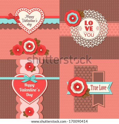 Set of four happy Valentine's day  handmade retro holiday cards with scrapbook elements.  Modern handmade / paper craft design. - stock vector