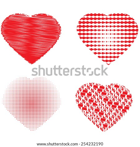 Set of four hearts, vector illustration   - stock vector