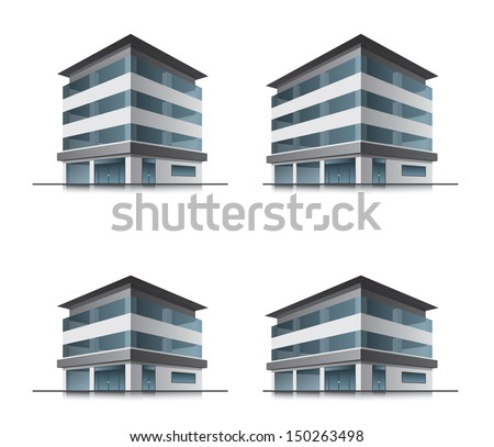Set of four hotel or office vector building icons - stock vector