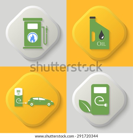 Set of four icons. Auto gas station. Oil can. Auto charging station. Combustible substances. Button. Vector element of graphic design - stock vector