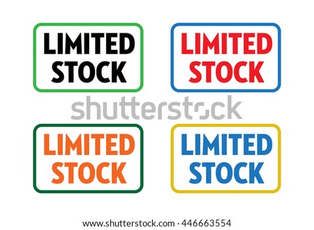 Set of four isolated stamps with the text limited stock written on each stamp - stock vector
