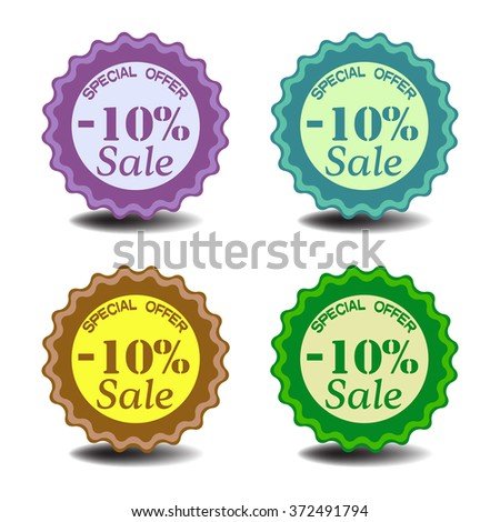 Set of four isolated tags with the text minus ten percent sale, special offer, written on each tag - stock vector
