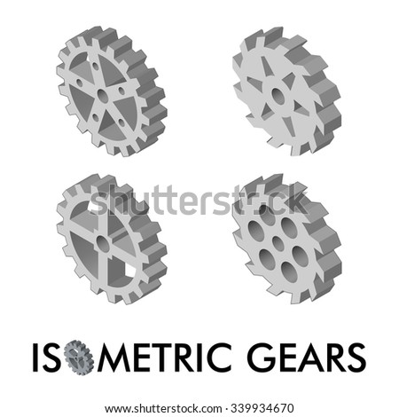 Set of four isometric gears isolated on a white background. Isometric vector illustration. Set of 3D icons. - stock vector