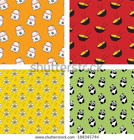 Set of Four Japanese Seamless Patterns in Cartoon Style - stock vector