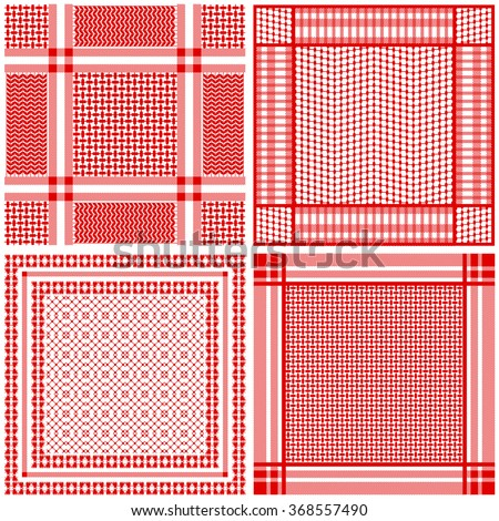 Set of four keffiyeh vector patterns. Traditional Middle Eastern man headdresses. Floral and geometrical oriental motifs. - stock vector