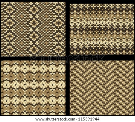Set Four Knitted Swatches Fair Isle Stock Vector 115391944 ...
