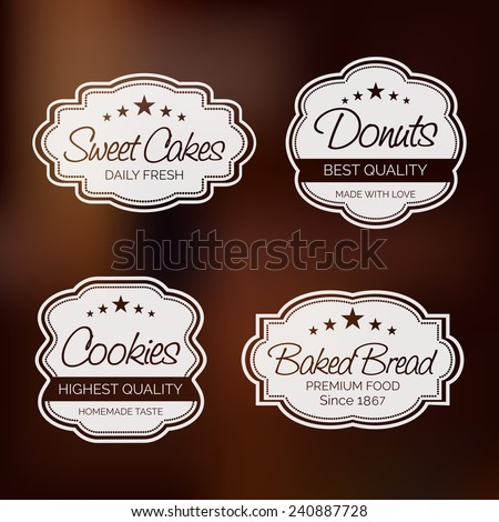 Set of four label for sweet cakes, donuts, cookies and baked bread on shiny brown background. - stock vector
