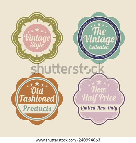 Set of four label for vintage collection and products in half rate on beige background.