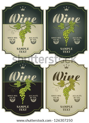 set of four labels for wine with grapes - stock vector
