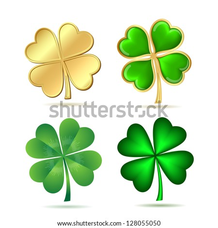 Set of four-leaf clovers isolated on white. St. Patrick's day symbol. Vector illustration - stock vector