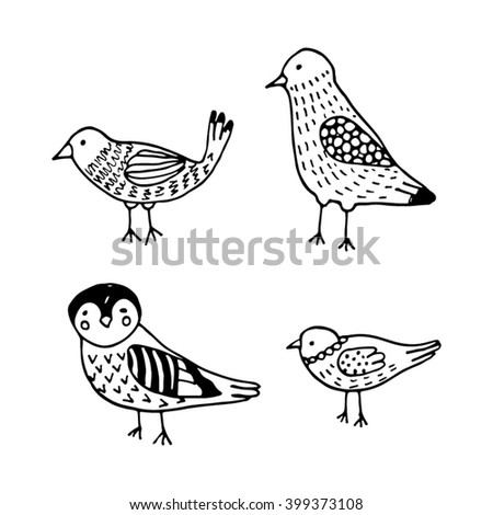 Set of four little hand drawn birds. Sketch style - stock vector