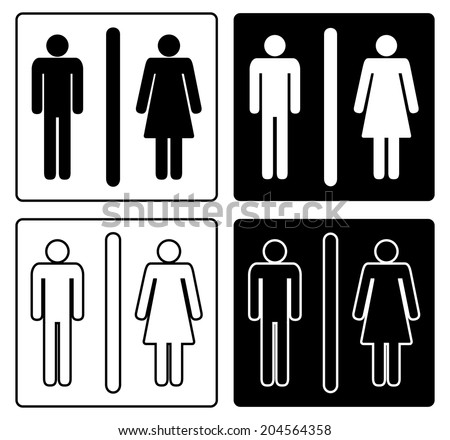 Set of four Man & Woman restroom sign. black and white design, vector art image illustration, isolated on white background