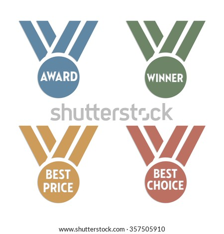 Set of four medals with the words award, winner, best price and best choice written on each medal
