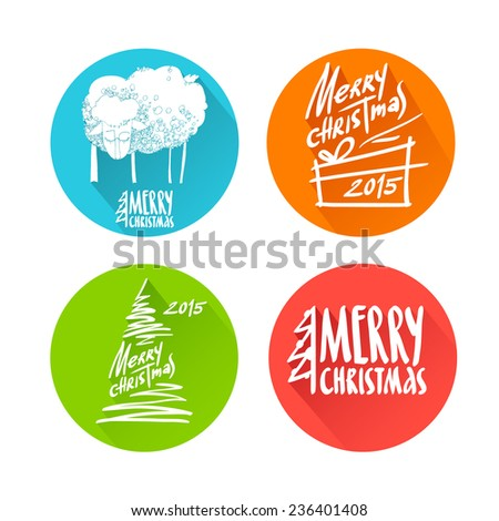 Set of four Merry christmas letterings in rounds isolated on white background. Vector illustration of xmas text and image of fir, sheep and present (flat style with long shadow) for your designs. - stock vector
