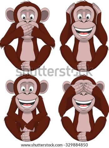 Set of four monkeys - stock vector