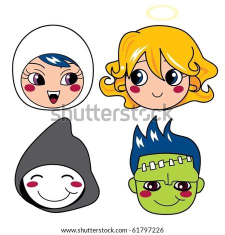 Set of four monster face masks for halloween - stock vector