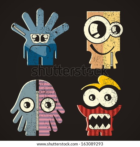 Set of four monsters on retro grunge background