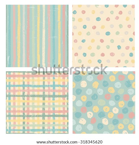 Set of four naive styled seamless patterns in pastel tones. All objects are conveniently grouped and are easily editable. - stock vector