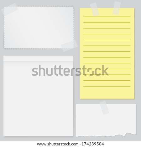 Set of four notes papers with scotch tape - stock vector