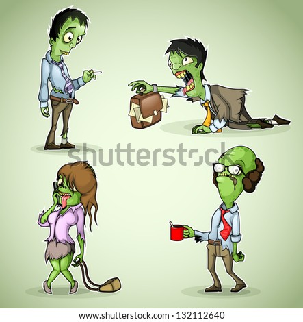 Set of four office zombie - stock vector
