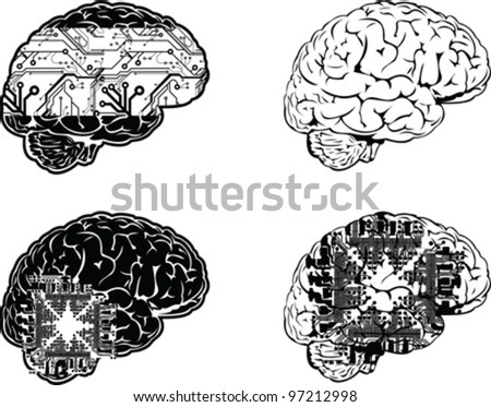 Set Of Four One Color Electronic Brain Side View. - stock vector