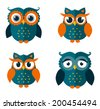 Set of four owls isolated on white background. Flat icons. Vector illustration. - stock vector