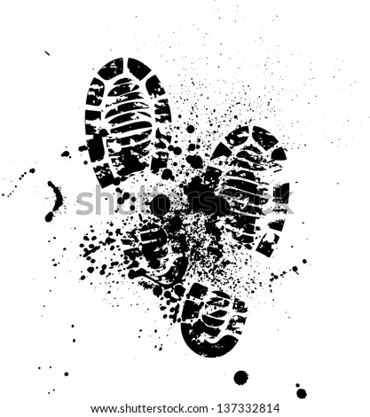 Set of four pairs of shoes print. eps10 - stock vector