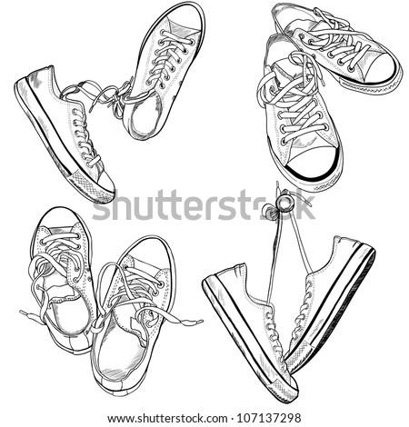 Set of four pairs of sneakers in different positions drawn in a sketch style. Vector illustration. - stock vector