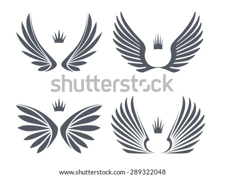 Set of four pairs of wings with crowns. Vector illustration. - stock vector