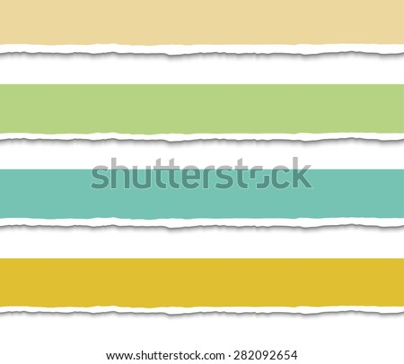 Set of four pastel Torn paper pieces banners. Paper with ripped edges. Design elements. Vector EPS10 illustration.  - stock vector