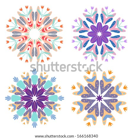 Set of four patterns with vegetative elements. Vector. - stock vector