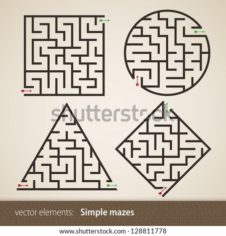 Set of four perfect maze - stock vector