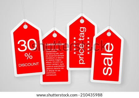 Set of four price tags with sample text - vector illustration - stock vector