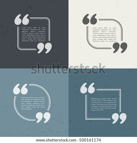 set of four quotation marks in different styles