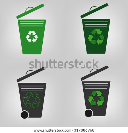 Set of four recycle bin, garbage can, vector