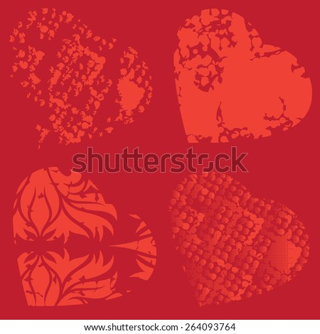 Set of four red hearts background, stock vector illustration.     - stock vector