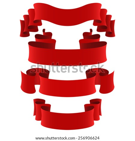set of four red vector ribbons, design elements - stock vector