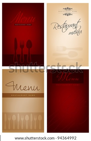 Set of four restaurant menu design. Vector file with place for your text. - stock vector