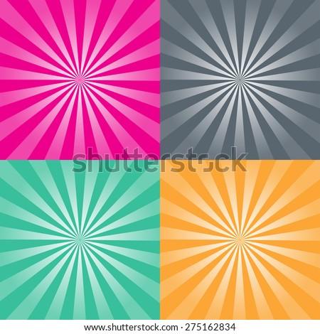 Set of four retro background vector illustration - stock vector