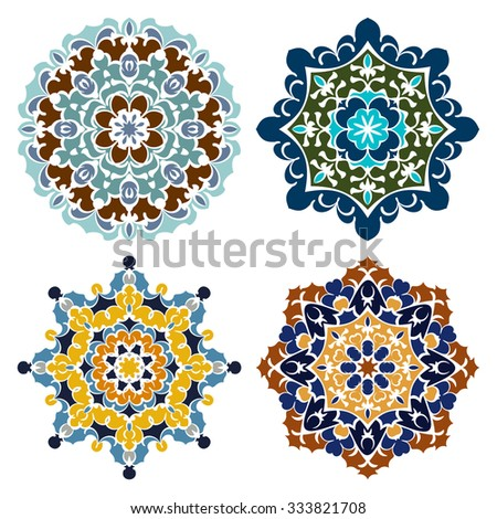 Set of four retro color eastern round ornaments mandalas isolated over white